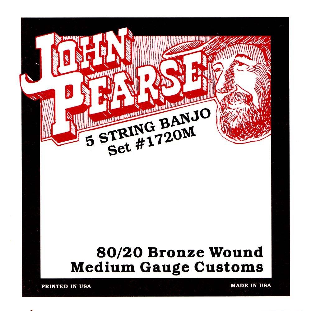 John Pearse 1720 Jeu de 5 cordes pour Banjo Medium Bronze Naturel