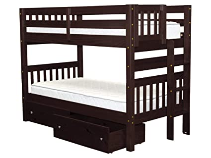 Amazoncom Bedz King Bunk Beds Twin Over Twin Mission Style With
