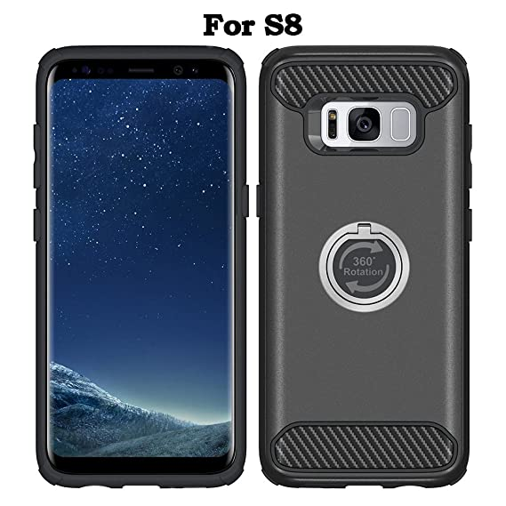 promo code 74f08 7e9fc Galaxy S8 Case With Kickstand Ring Holder, VRURC Heavy Duty Protection Case  for Galaxy S8 Case with 360 Rotation Grip Finger Ring Holder Kickstand ...