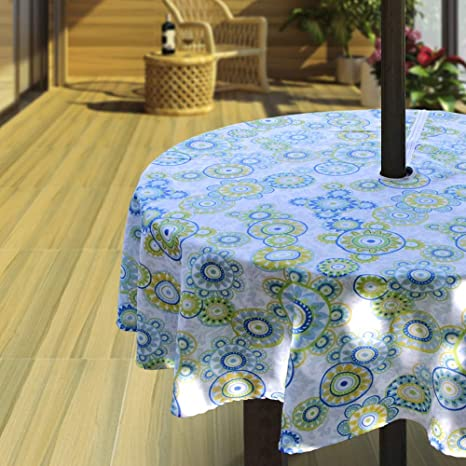Blue Hipinger Heavyweight Wrinkle-Free Stain Resistant Waterproof Outdoor Tablecloth with Umbrella Hole and Zipper,60 Inch Round Seats 4 People