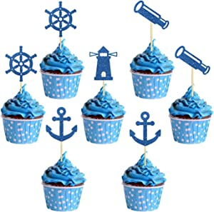 Blue Glitter Nautical Themed Cupcake Toppers, Baby Shower/Navy Themed/Navy Wedding Cupcake Decor, Ship Anchor Cupcake Picks Food Fruit Picks for Birthday Party Supplies for Kids or Adults