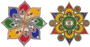 IndoTribe Assorted Large Indian Decor Diwali Decorations for House Readymade Rangoli Acrylic Rangoli Sticker Diwali Rangoli Acrylic Dussehra Decorations Diwali Decor Rangoli Acrylic Rangoli