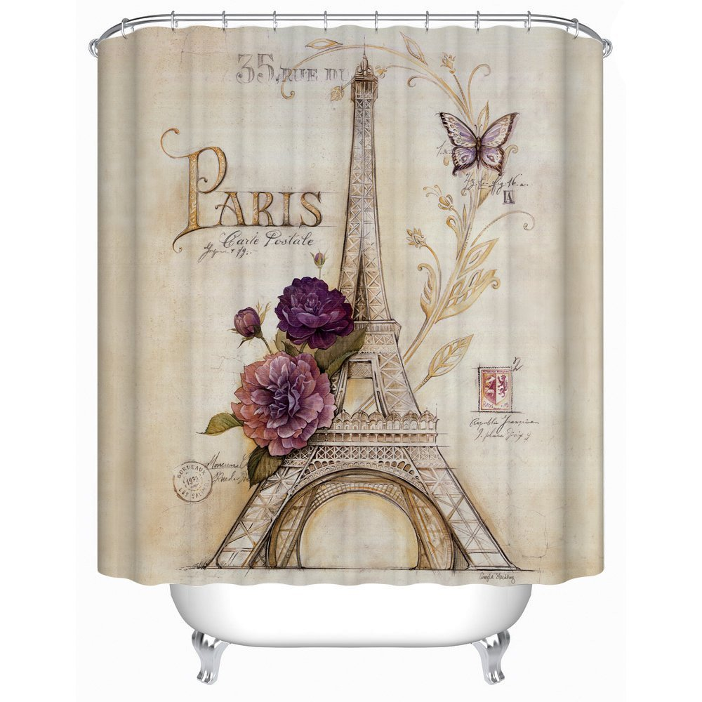 Amazon.com: Uphome Vintage Paris Themed Bluish Brown Eiffel Tower ...