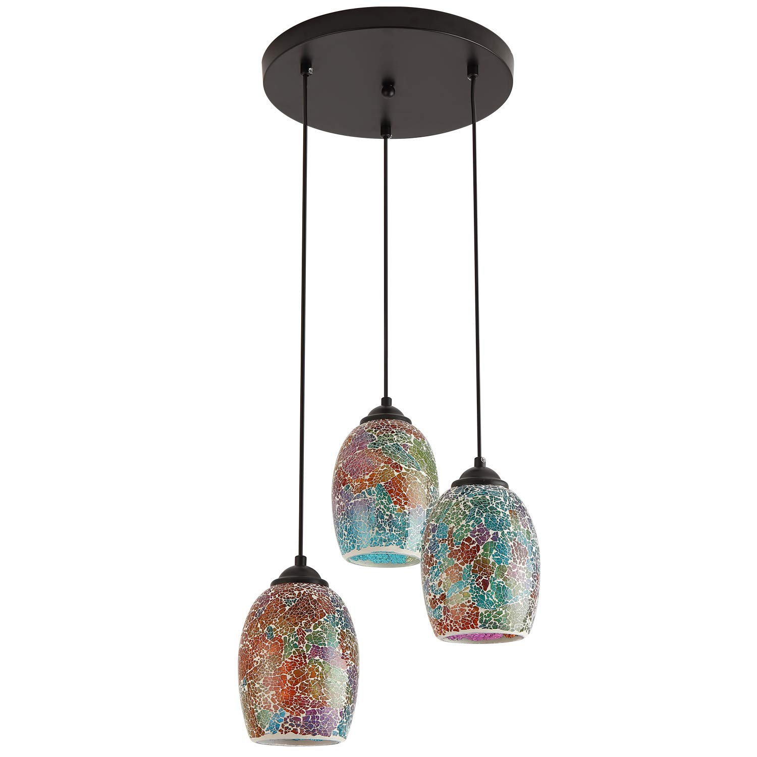 Modern Kitchen Island Lighting, Hand Crafted Mosaic Colored Glass Shade Hanging Ceiling Lights,3 Lights Round Base Multi Pendant Lighting for Kitchen Island Dining Room Living Room Table