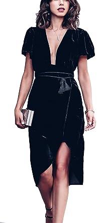 R.Vivimos Womens Velvet Elegant Deep V Neck Short Sleeve High Low Midi  Dresses ( b1a7252a4a4a