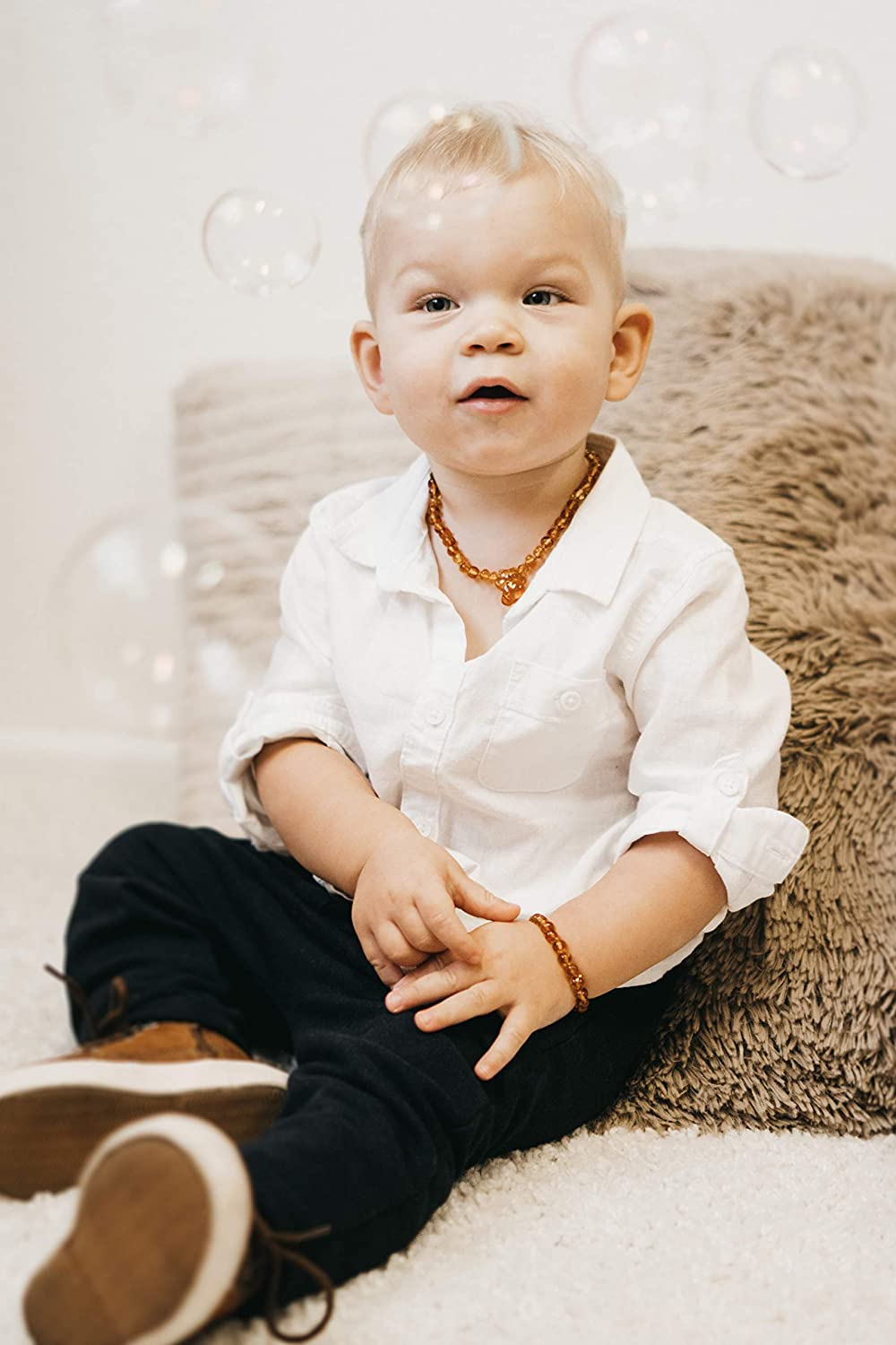 for Baby Amberito Baltic Amber Teething Necklace for Babies Greenish Natural Anti-Inflammatory Amber Beads| Holistic Jewelry and Drooling Support Toddler Girl and Boys Quick Fasten Easy-Clasp