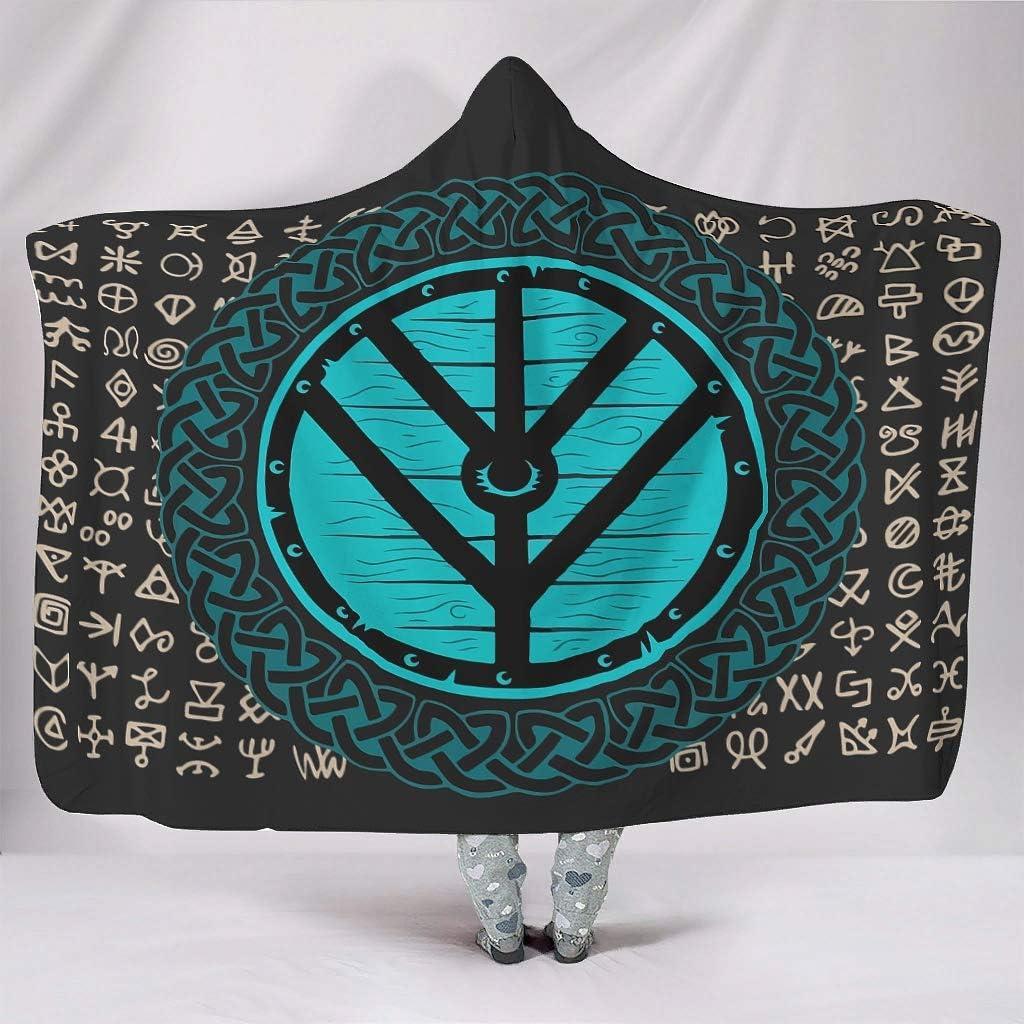 Dewawa Viking Pattern Hooded Blanket Soft Warm Throw Blankets Microfiber Fleece Blanket Gift for Family White 60x80 inch