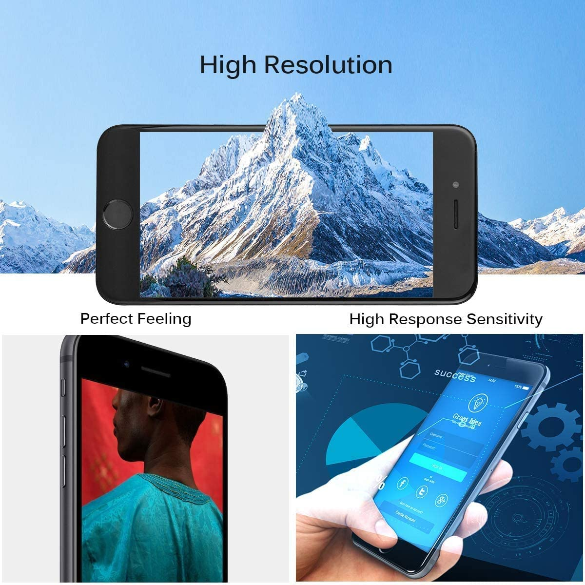 Black Screen Replacement LCD Touch Digitizer Complete Display with Proximity Sensor Ear Speaker Front Camera and Free Repair Tool Compatible with iPhone 8 4.7 inch