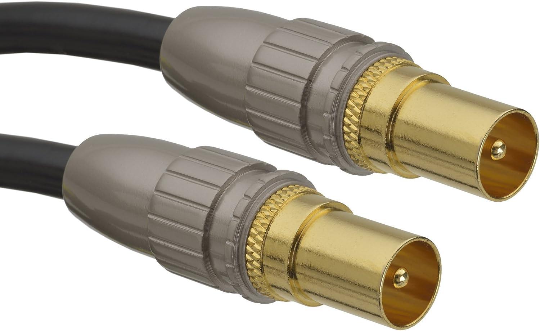 aricona Cable de antena HDTV - Cable coaxial de audio con adaptador para receptor y TV / 3 metros