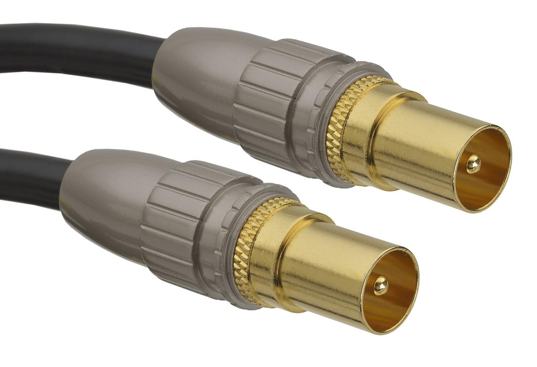 aricona N°468 Cable de antena TV con conector coaxial, cable coaxial de antenas premium con conectores coaxiales de precisión (acople coaxial), ...