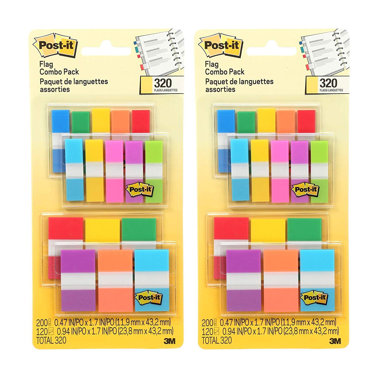 Flags Assorted Color Combo Pack, 640 Flags Total, 200 1-Inch Wide Flags and 120 .5-Inch Wide Flags, 4 On-The-Go Dispensers/Pack (683XL1) by Post-it