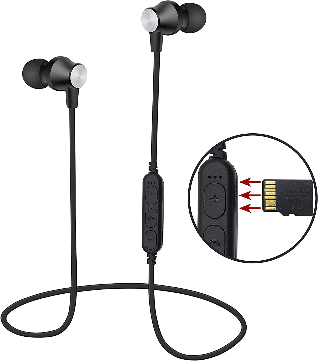 Areabi Falcon - Auriculares Bluetooth magnéticos con reproductor de MP3, Bluetooth 5.0, micrófono integrado HD, auriculares Bluetooth deportivos para smartphone iPhone Android Samsung