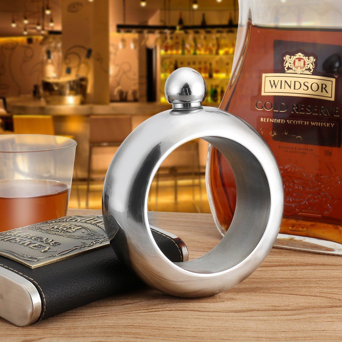 Bracelet Flask with Funnel,Creative Hidden Stainless Steel Bracelet Flask for Storing Whiskey/Alcohol 3.5oz (Silver)