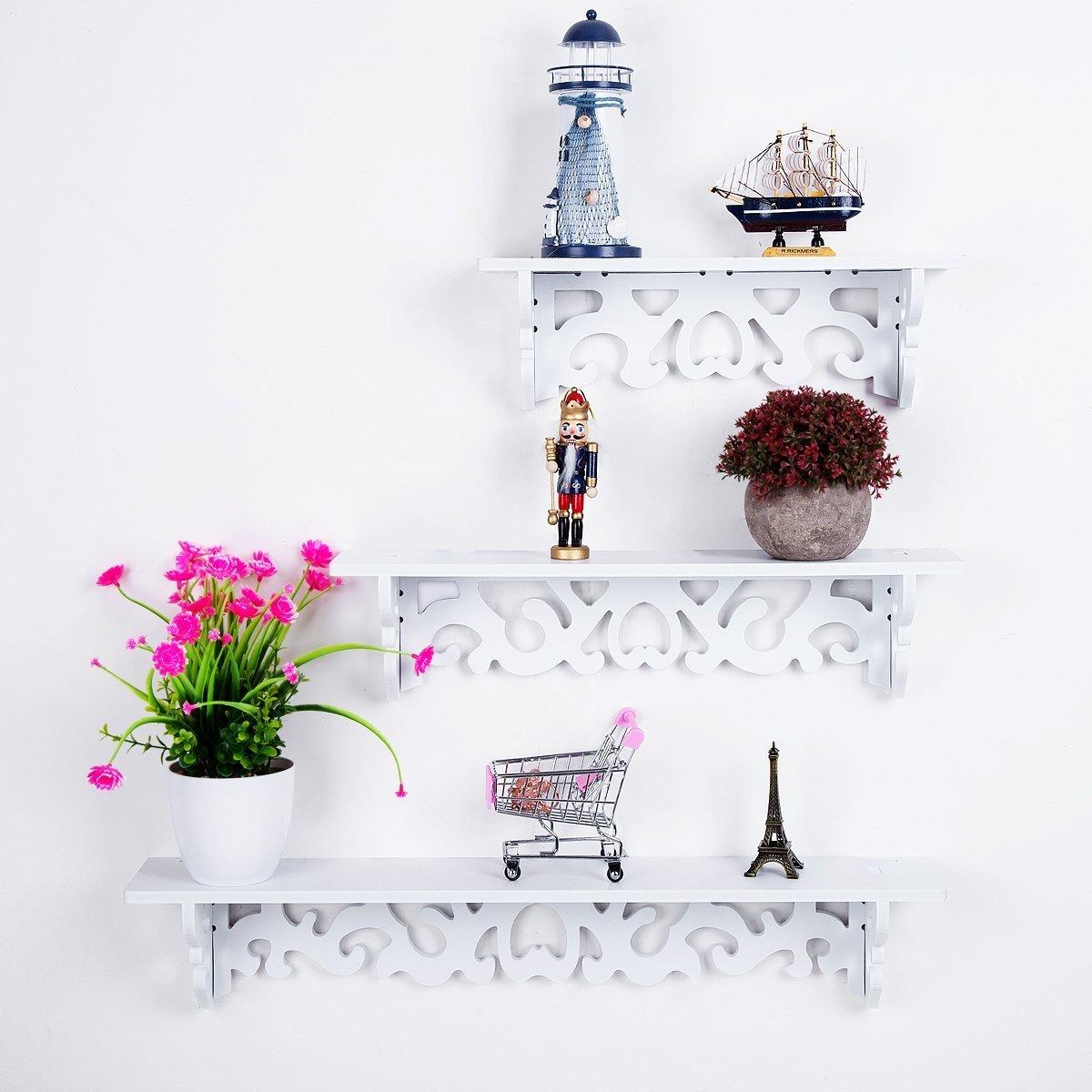 HBlife mensole decorative traforate portaoggetti da parete, libreria da parete, color bianco, confezione da 3 pezzi