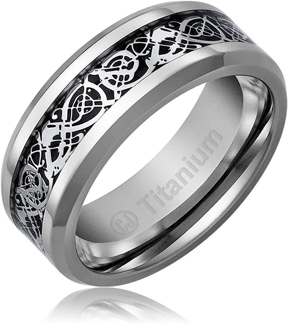 Cavalier Jewelers 8MM Men's Titanium Ring Wedding Band | Celtic Dragon Design Over Black Inlay