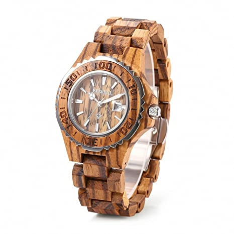 MAARYEE Fashion Waterproof Watches Women Handmade Wooden Quartz Watch with  Metal Case Retro Wrist Watch for a9fa18cfd69c