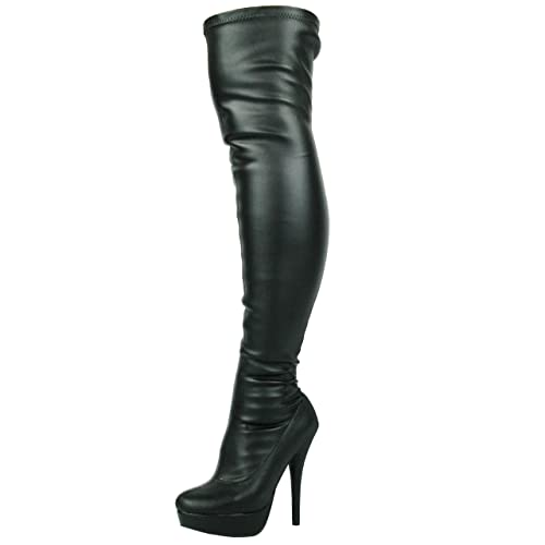 8975a1dde70 Ladies Womens Sexy Stilleto Stretchy Over The Knee Stretch Wide FIT Black  Thigh HIGH Boots Size