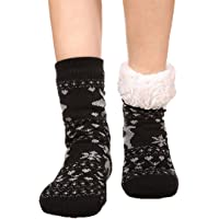 FRALOSHA Slipper Socks Reindeer Home floor Socks Winter Warm Cozy Fuzzy lined Socks Super Soft Womens Socks