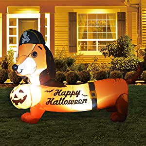 GOOSH 5FT Inflatable Halloween Dog Blow Up Inflatables Halloween Outdoor Yard Decorations