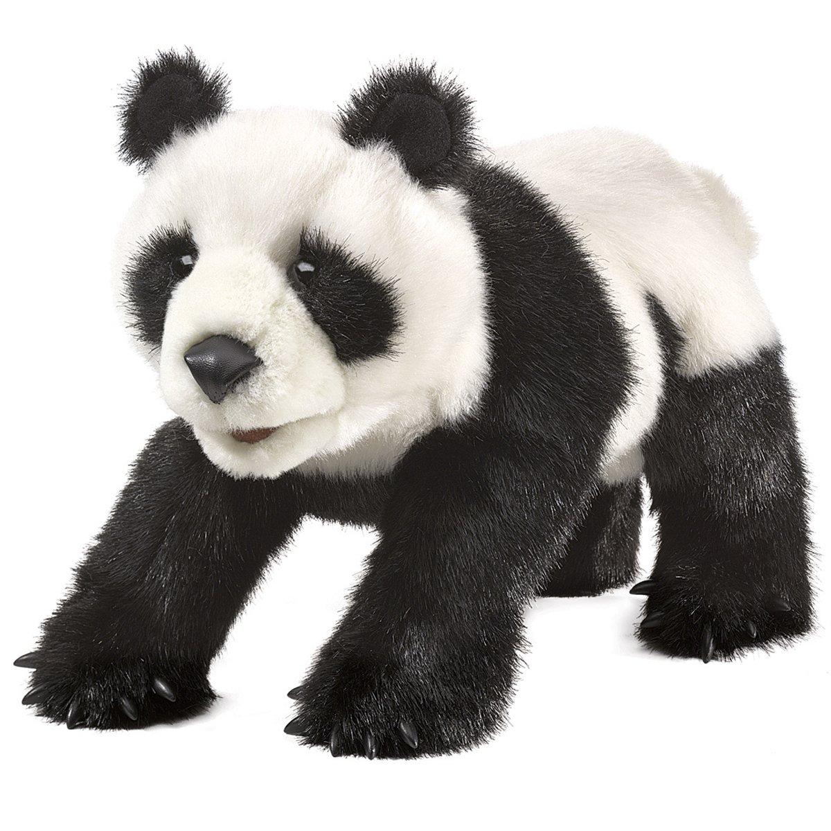 Folkmanis Puppets Small Panda Bear Hand Puppet, Black White
