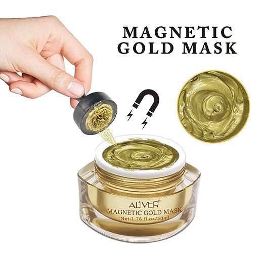 Máscara magnética dorada mineral-rica en la cara para eliminar las ...