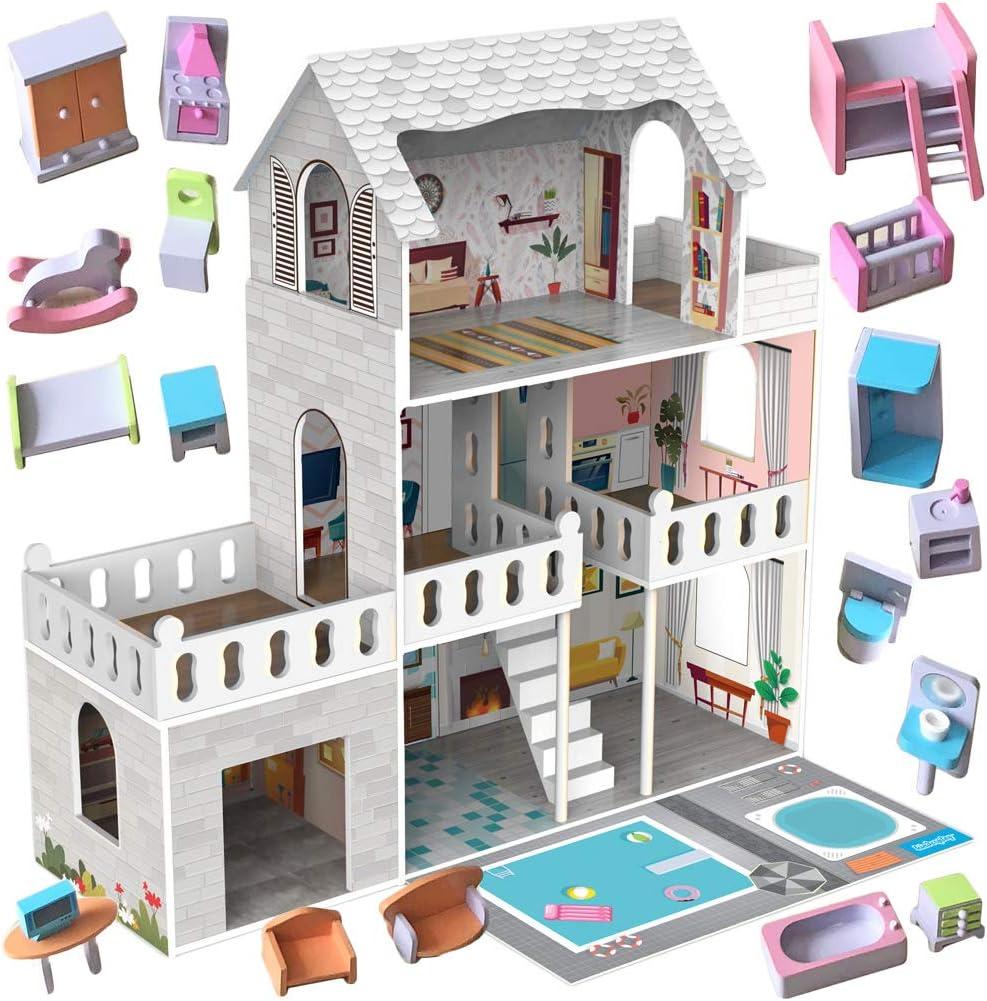 Kinderplay Grande Casa de Muñecas, Casa de Madera para con Garaje Iluminación LED con Muebles y Accesorios Incluidos, 3 Pisos, para muñecas de 90 cm, Color Multicolor GS0020A