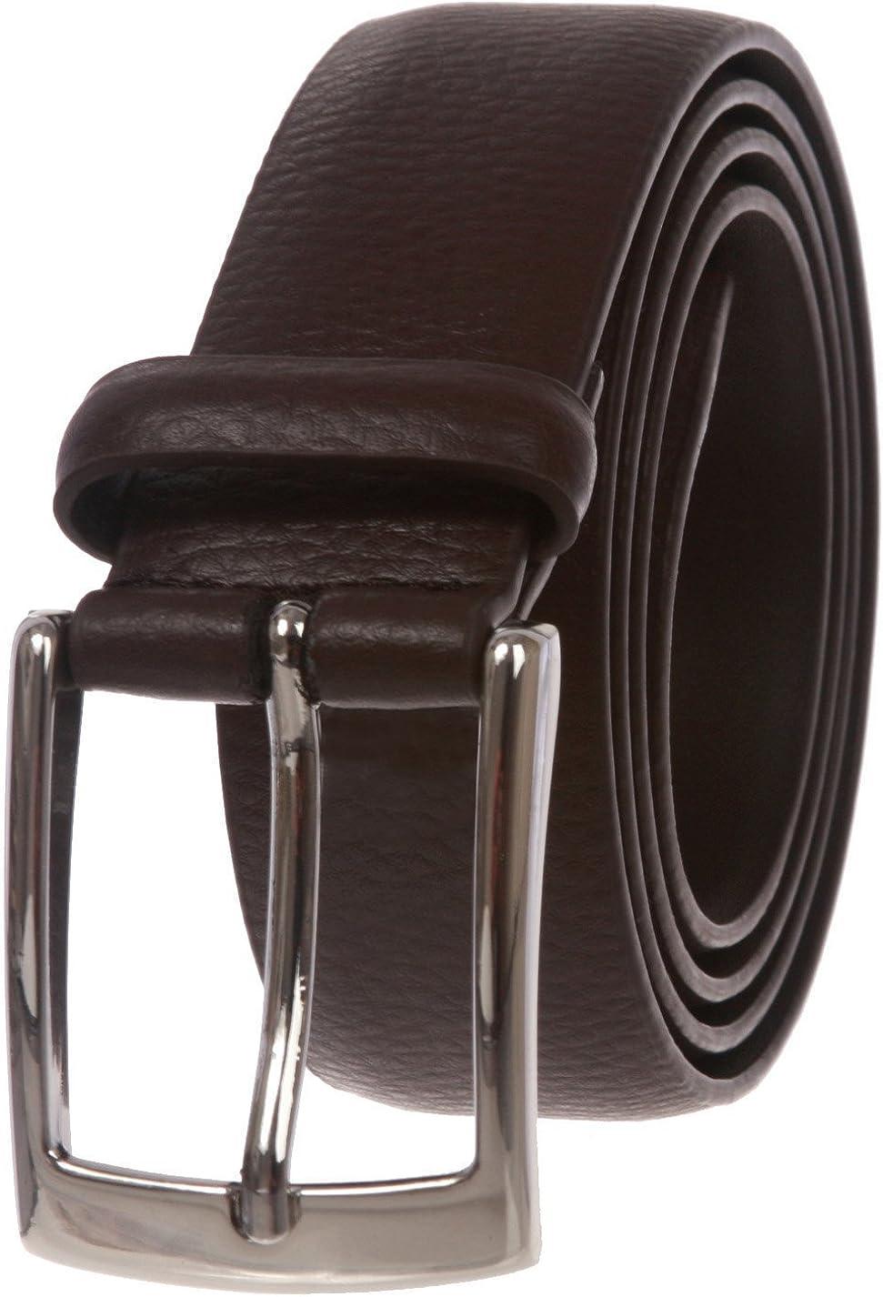MONIQUE Men Lichee Pattern Feather Edged Quality Leather Dress 32mm Wide Belt