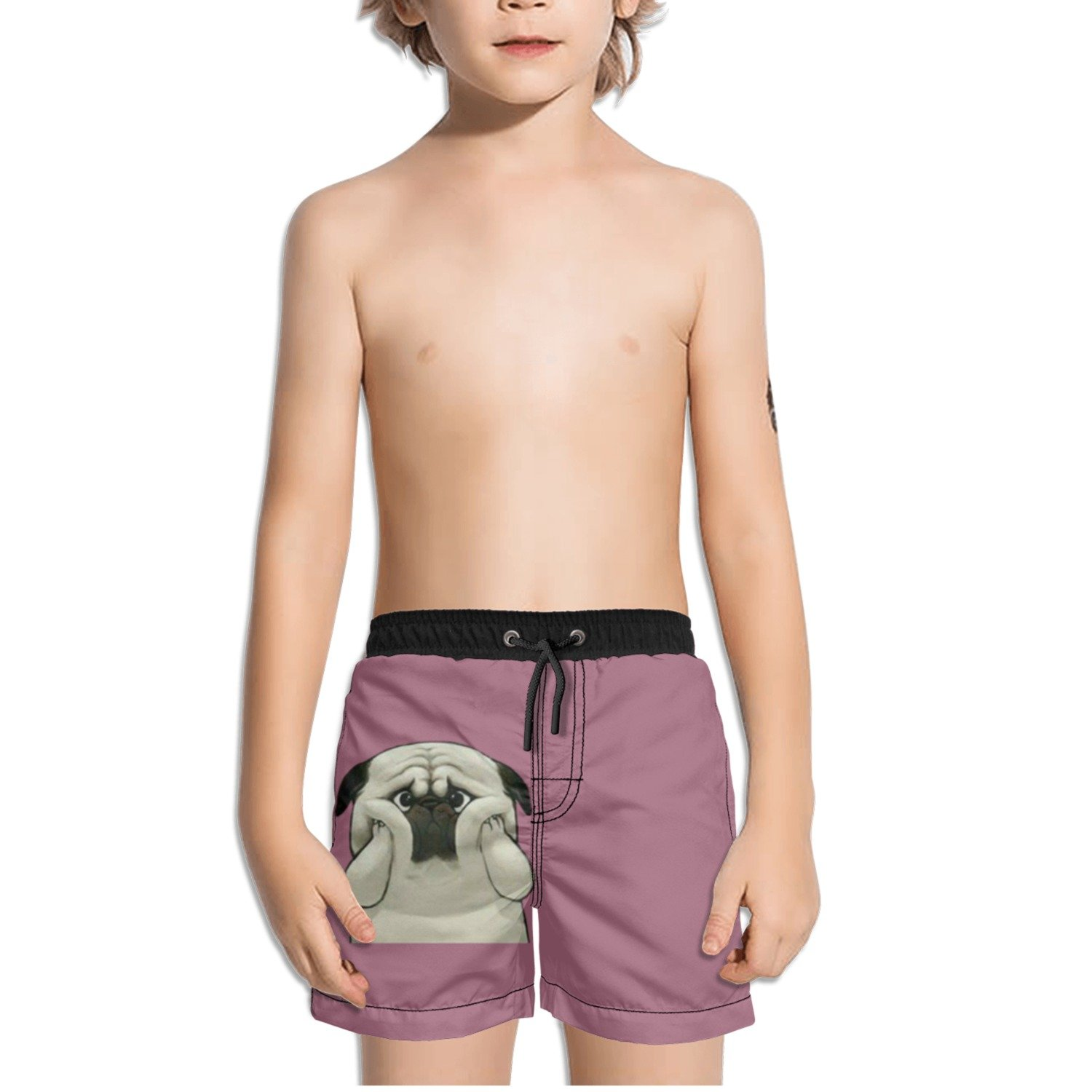 Juliuse Marthar Funny Pug Gifts Purple Swim Trunks Quick Dry Beach Board Shorts for Boys