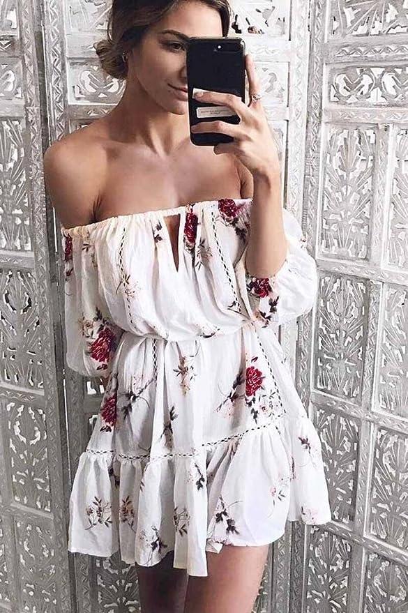 Overdose Verano De Las Mujeres Off Hombro Floral Sundress Bud Party Beach Slash Cuello Corto Mini Vestido: Amazon.es: Ropa y accesorios