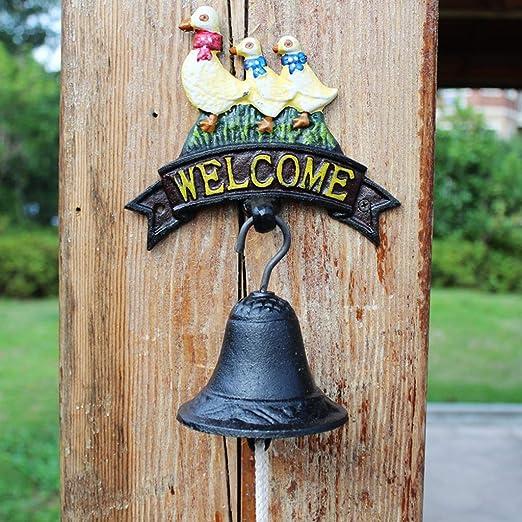 RENJUN Timbre de Hierro Fundido decoración de la Pared de Hierro Forjado Patio jardín decoración Creativa Retro Viento carillón 18x24 cm: Amazon.es: Hogar