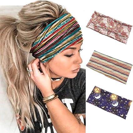 6pcs tie dye diademas Bascolor Diademas Mujer El/ástica Turbantes Flor impresi/ón Diademas Deporte Nudo Banda para Cabello Yoga cabeza Wraps
