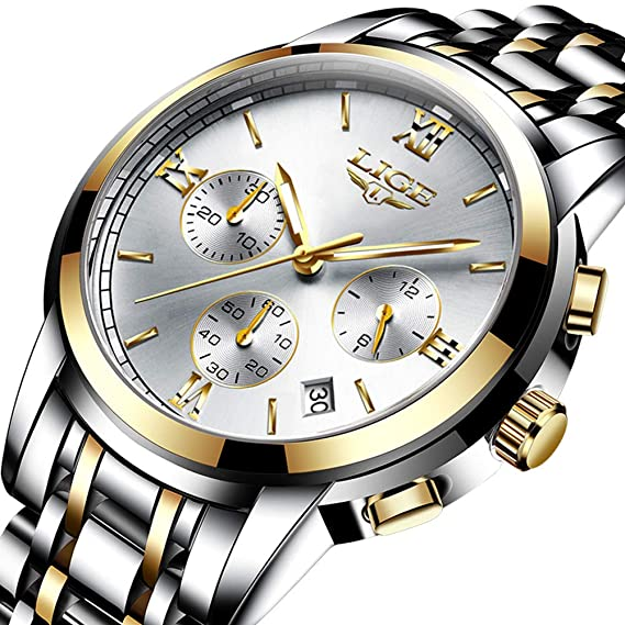 Relojes para Hombres,LIGE Acero Inoxidable Cronógrafo Deportivo Relojes analógico de Cuarzo Impermeable Fecha Moda Casual Lujo Relojes de Pulsera Oro Plata: ...
