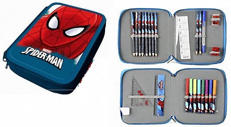 Vengadores Estuche PLUMIER Doble Spiderman 24 PZAS con Dos Pisos Y Dos Cremalleras: Amazon.es: Juguetes y juegos