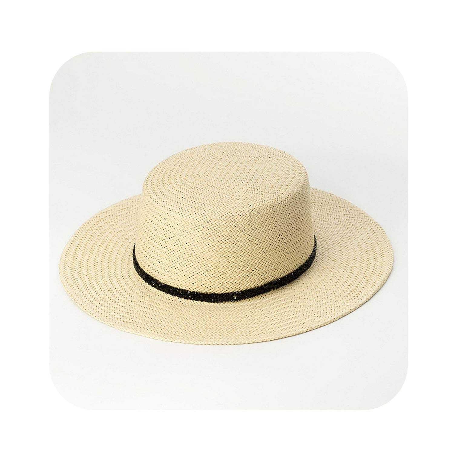 004 Natural Boater Hat Women Fashion Summer Sun Hat Paper Straw Beach Hats for Ladies 681014