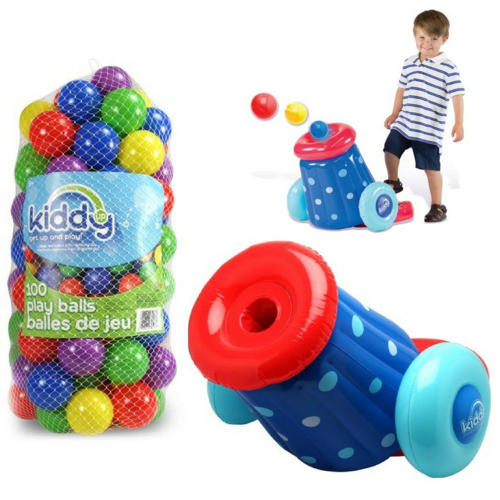 Ultimate Pit Ball Cannon Blaster & Crush Resistant 100-Count Pack Pit Balls, Kiddy Up Play Set, Kids Active Play, Outdoor, Indoor, Ball Pits, Kids Inflatable Toys, Colored Balls, Fun Activity For Kids