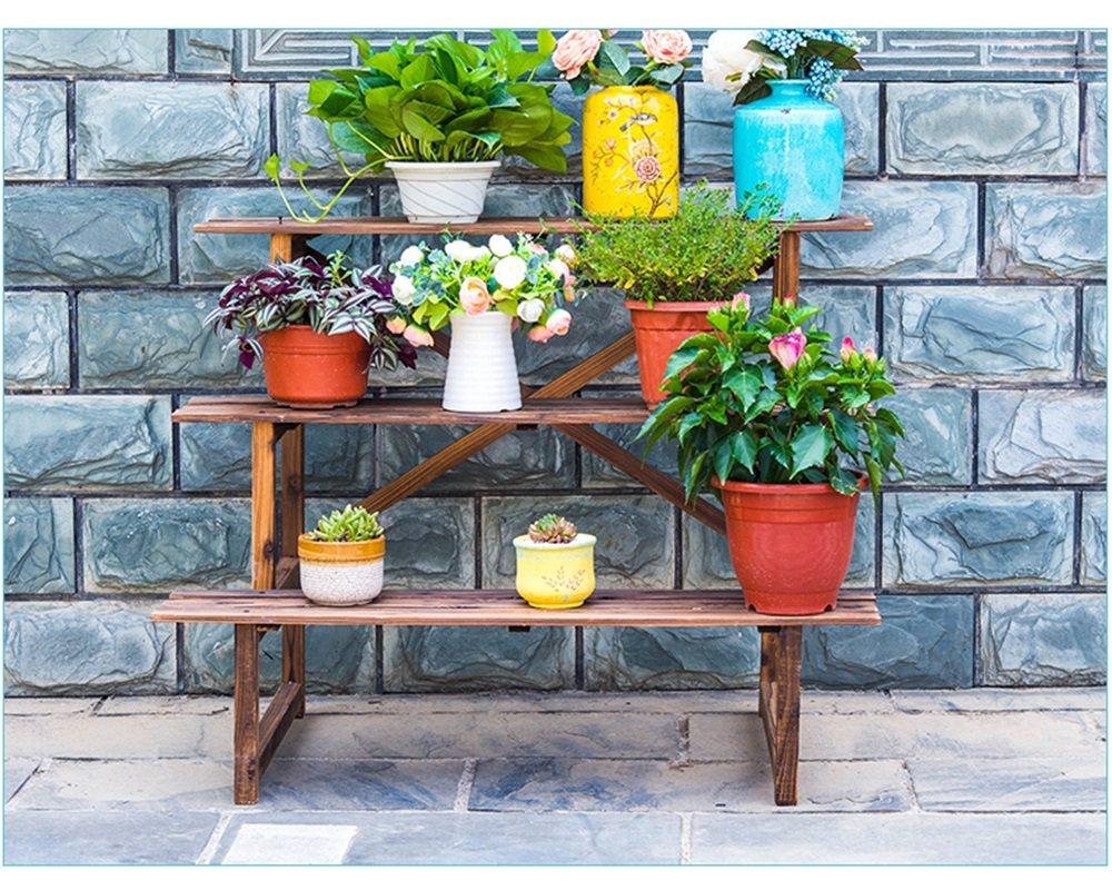 Solid wood flower rack Blumenstand, Blumentopfstand, Wohnzimmer-Massivholzboden-Balkonstandplatz, mehrstöckiger Stand des grünen Rettichfleisches (Farbe   Carbonized, größe   120  61  76cm) Carbonized 1206176cm