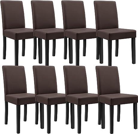 [en.casa] 8 sedie imbottite (marrone opaco) (Ottima qualità) con piedi in legno massellorivestimento in similpelleelegante