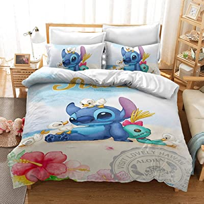 .com - Ksainiy 3D Printing Lilo & Stitch Bed Linings Decoration 100% Microfiber, Microfibre Quilt Cover, 3-Piece Anime Character ,Zipper Closure, 1 Quilt Cover + 2 Pillowcases (Size : US Queen 228228cm) -
