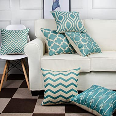 LtrottedJ 6PC/Set Home Decorative Pillowcase Cotton Linen Sofa Cushion Throw Pillow Cover