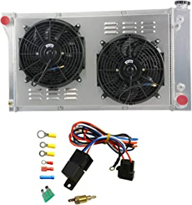 "OzCoolingParts 3 Row Core Aluminum Radiator + 2 x 12"" Fan w/Louver Shroud + Thermostat/Relay Wire Kit for 1967-1972 68 69 70 71 Chevy C10 C20 K10 K20 K30 Pickup Trucks and GMC More Models"