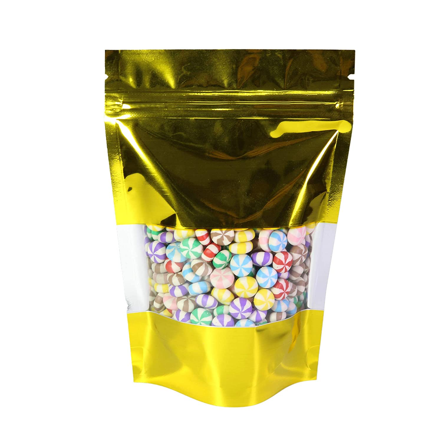 """QQ Studio 100 Bags Shiny Colored Aluminum Mylar Foil Clear Window Reclosable Ziplock Stand-Up Bags (6"""" x 9"""", Gold)"""