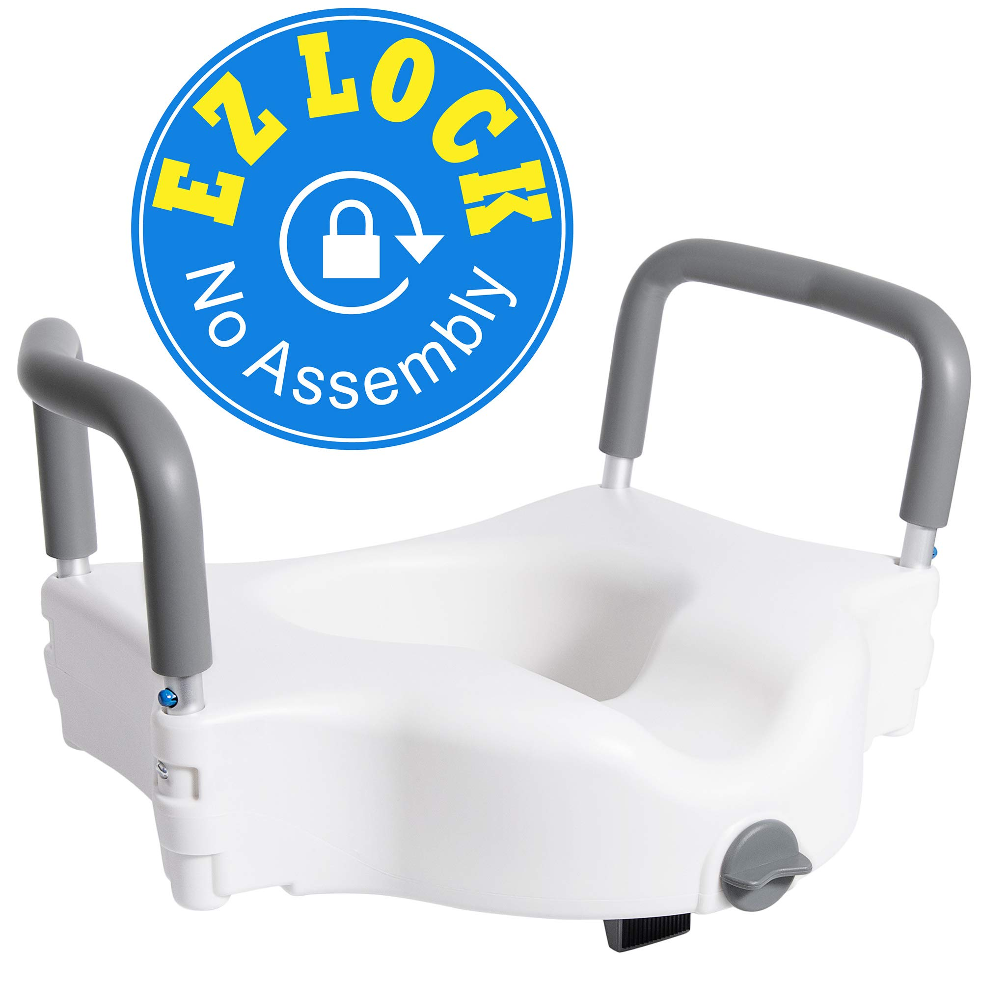 Vaunn Medical Elevated Raised Toilet Seat & Commode Booster Seat Riser with Removable Padded Grab bar Handles & Locking Mechanism by Vaunn