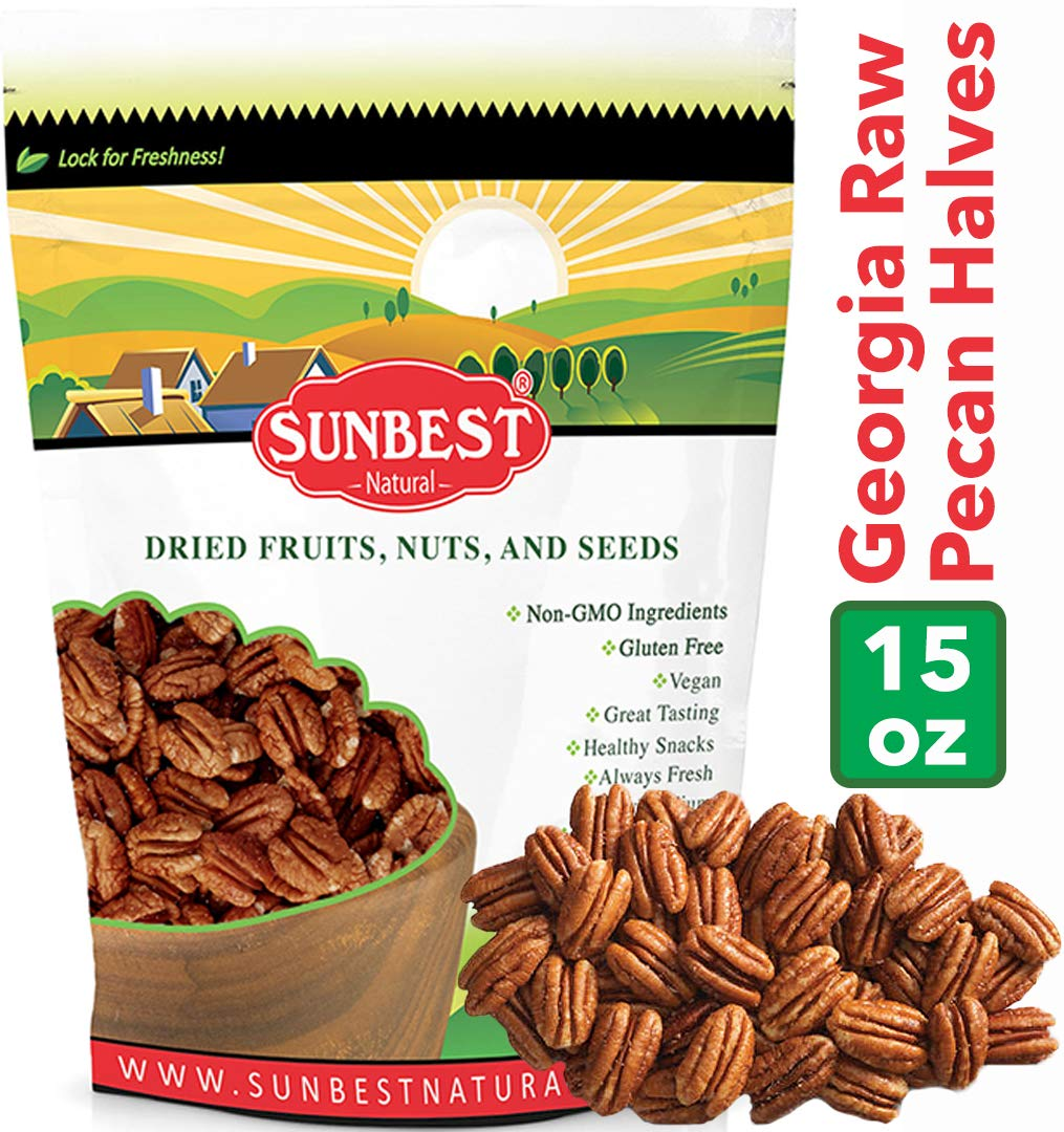 SUNBEST Fancy Georgia Raw Shelled Pecans, Pecan Halves, JUMBO, Unsalted, No Shell in Resealable Bag ... (1 Lb) by SUNBEST NATURAL