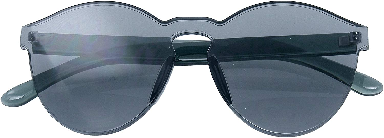 SUNGLASSES Men Womens Retro Mono Block Rimless PC Color Tone Sunglasses
