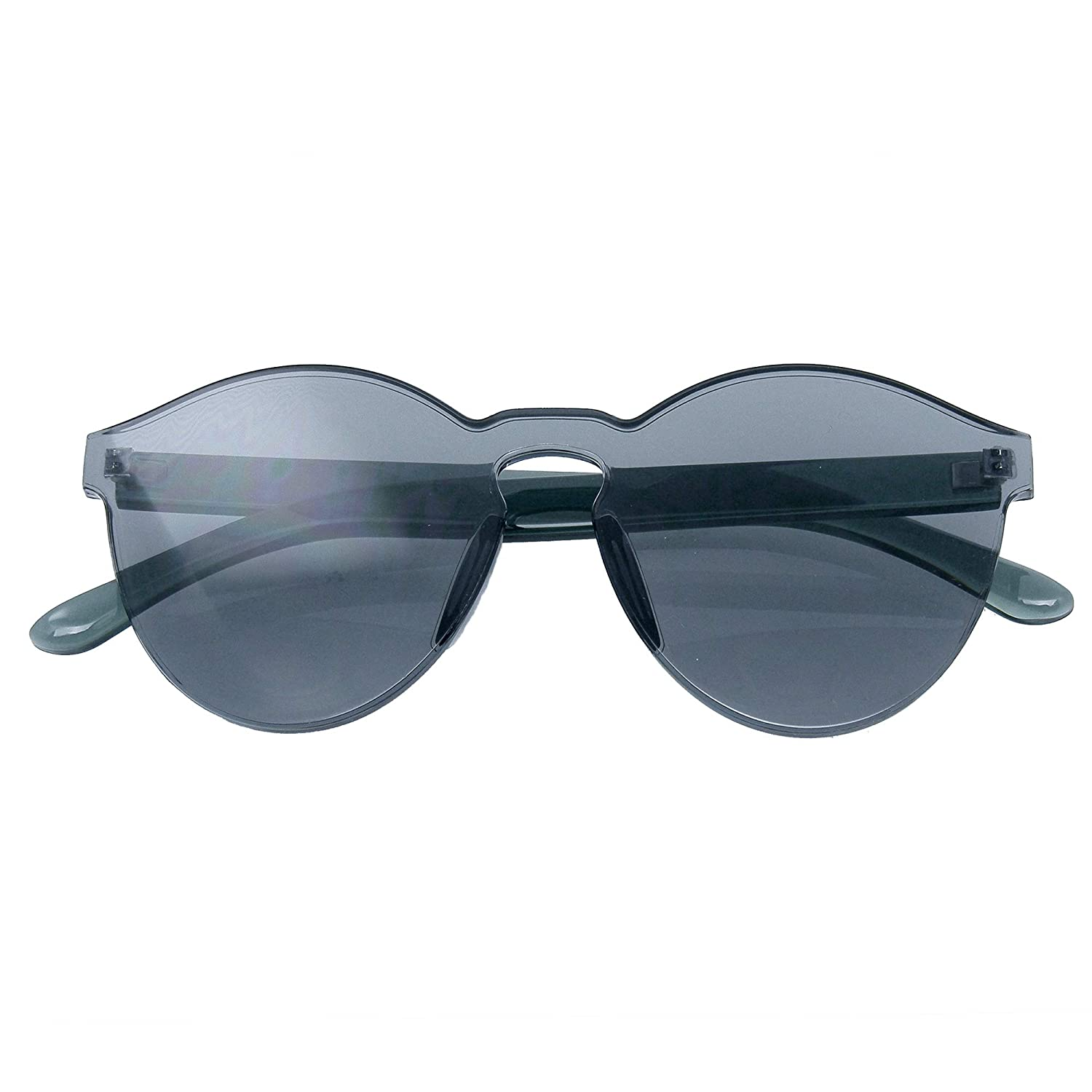 039d59bce9 Colorful One Piece Rimless Transparent Sunglasses Women Tinted Candy  Colored Glasses (Black)  Amazon.co.uk  Clothing