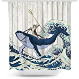 Coxila Funny Cat Shower Curtain Japanese Sea Wave Cute Whale Barn Door Brave Shark Cartoon Animal Kids Children 60 x 72 Inch