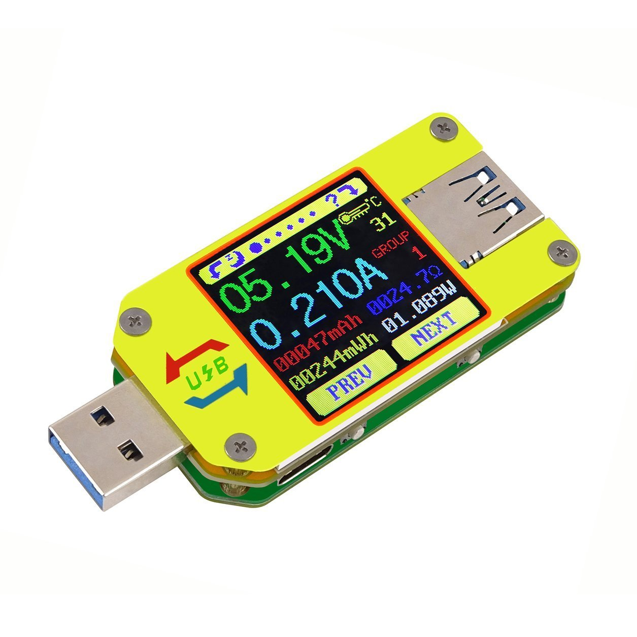 RD UM34C para APP USB 3.0 LCD Display Voltmeter Ammeter Cable Resistance Tester (Color: Colorido) Dailyinshop