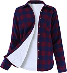 7a6fd9a0 Ladies' Code Women's Winter Flannel Plaid Button Down Top with Sherpa  Fleece Lining