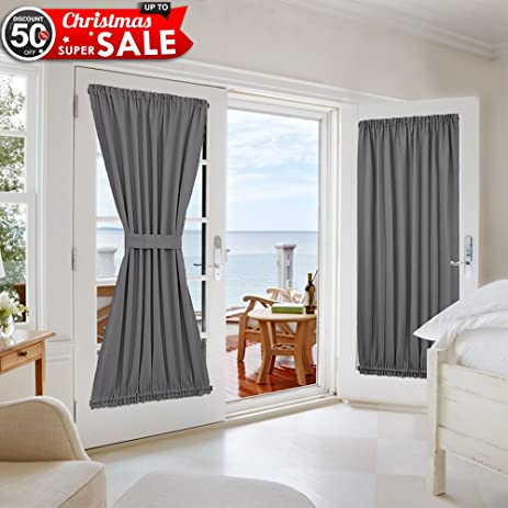 Grey French Door Curtains   Blackout Patio Door / Glass Door Curtain Panel  For Privacy By