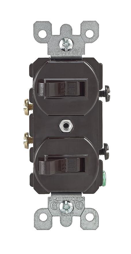 Leviton 107-05224-0SP Combo 2-Single Pole Switch, Brown - Wall Light ...